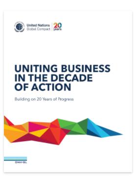 Informe de progreso del 20 aniversario del Pacto Mundial de las Naciones Unidas: Uniendo a las empresas en la Década de Acción