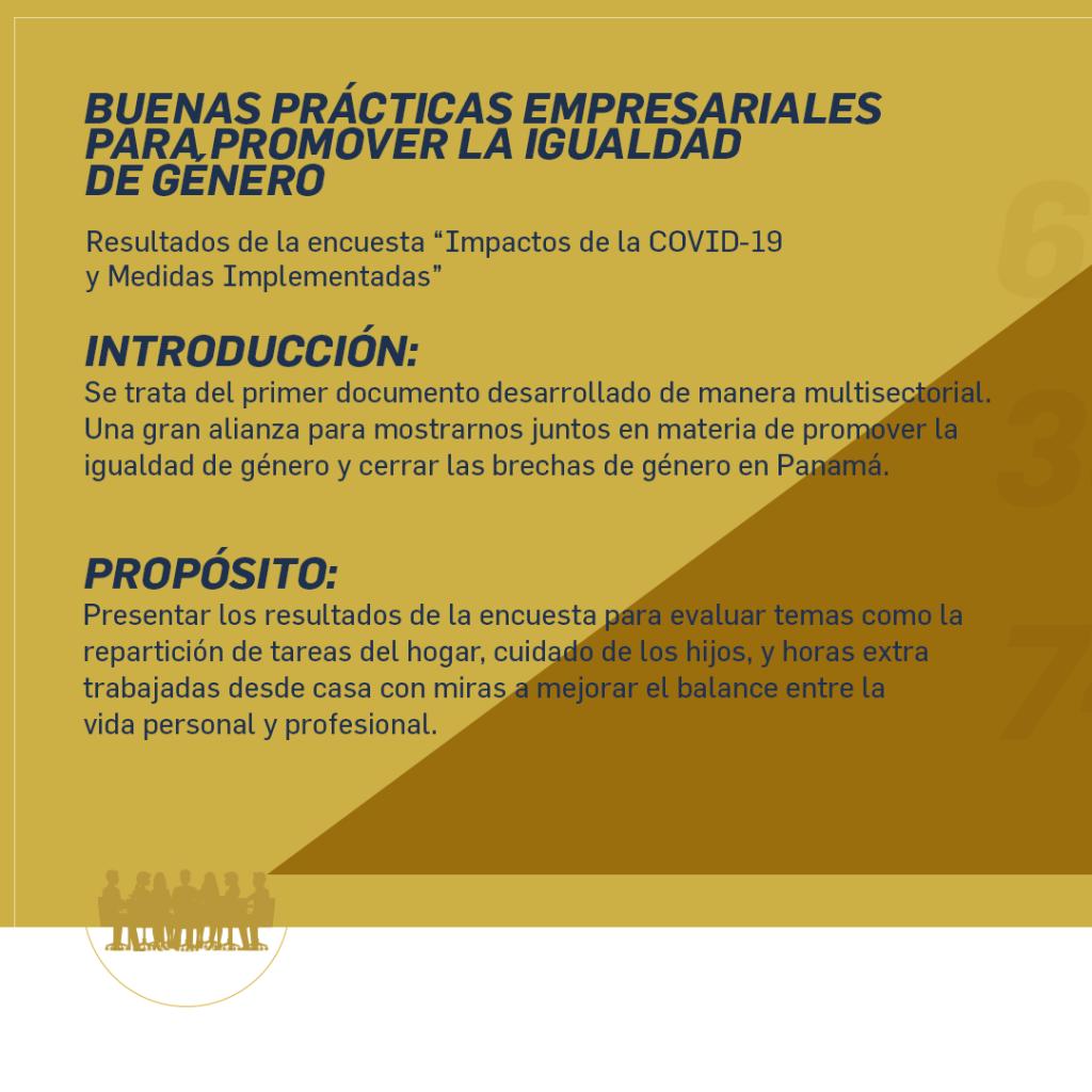 Infografía Buenas Prácticas Empresariales para Promover la Igualdad de Género – Resultados de la Encuesta «Impactos de la COVID-19 y Medidas Implementadas»
