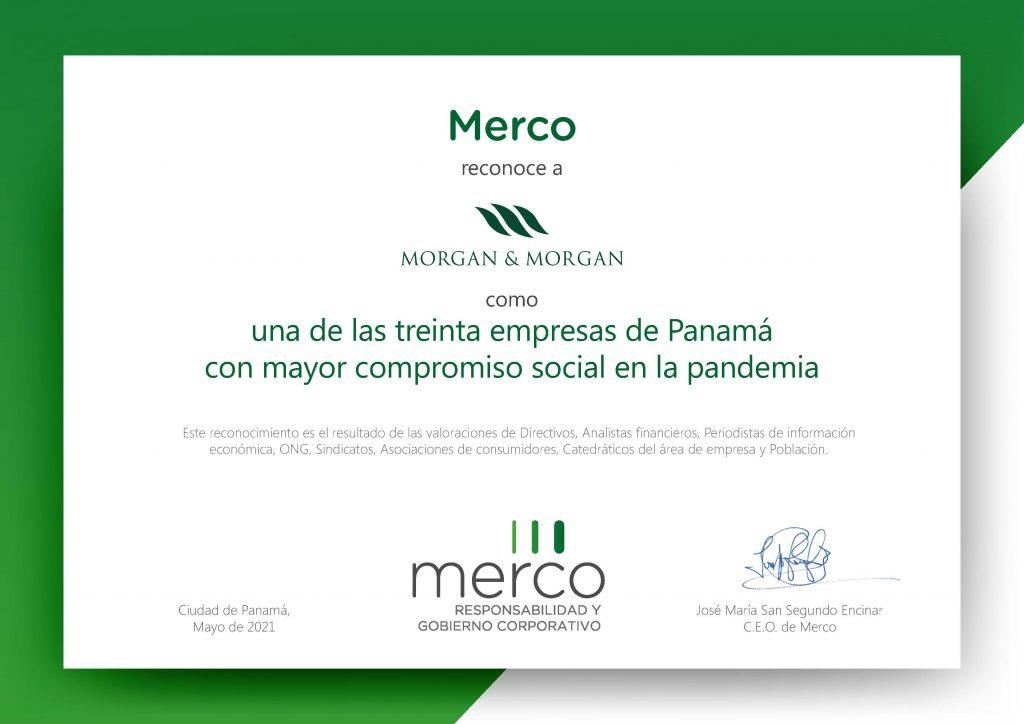 Morgan & Morgan entre las 100 empresas con la Mejor Reputación Corporativa, Compromiso Social y Buen Gobierno en Panamá