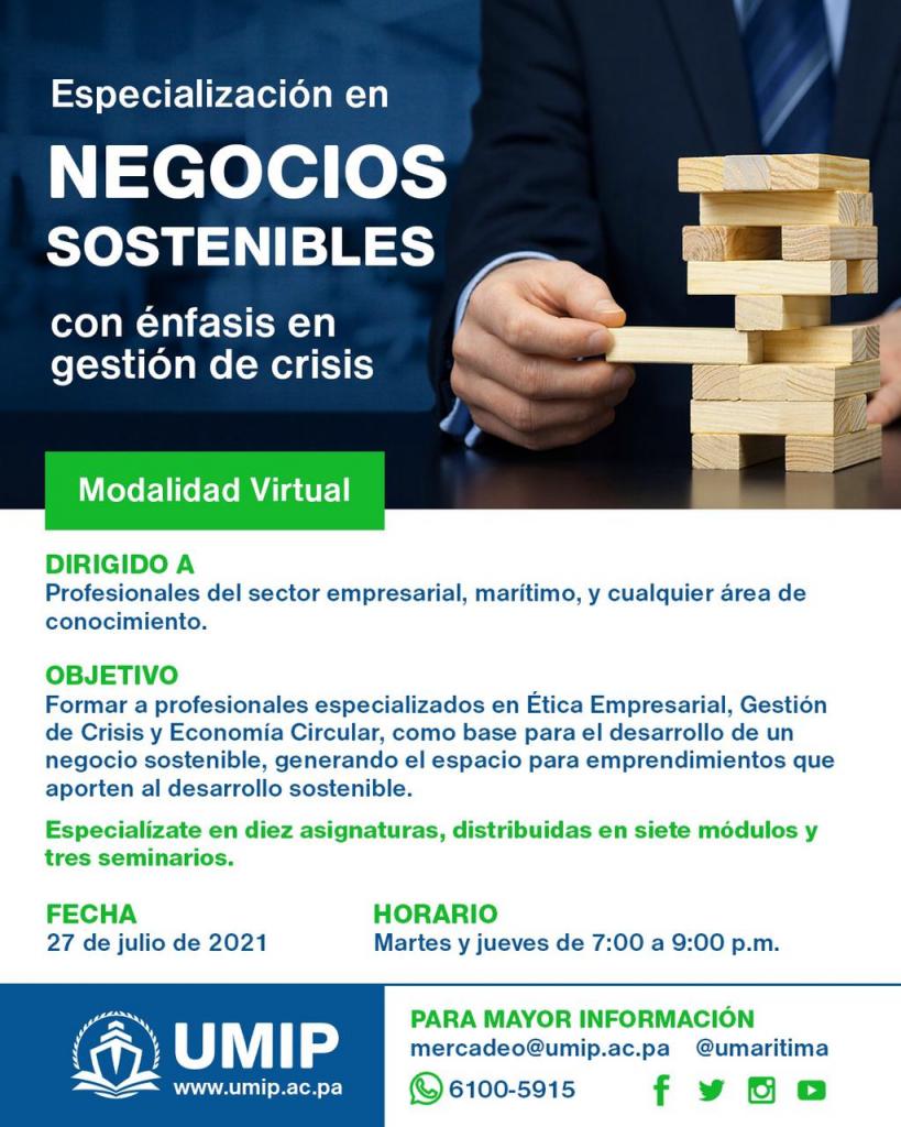 Especialización en Negocios Sostenibles con énfasis en gestión de crisis de la UMIP